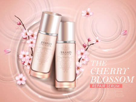 Elegant cherry blossom cosmetic ads, top view of two exquisite bottles with sakura branches isolated on ripples background in 3d illustration Ilustracja