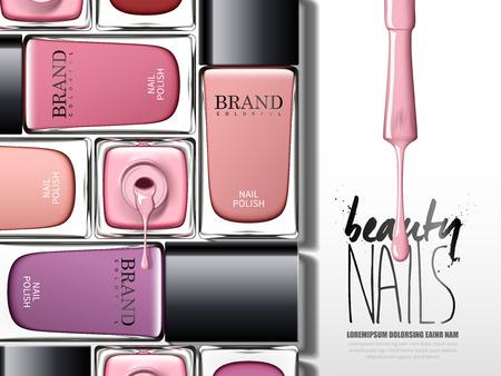Kolorowe lakier do paznokci reklamy, wiele elementów szklanych butelek, 3d ilustracji