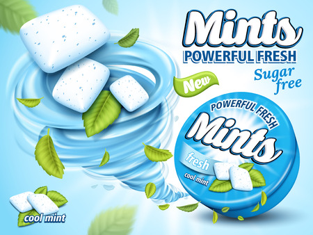 Mint flavor gum ad with leaf and tornado element, isolated in light blue background, 3d illustration Illustration