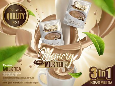 Tè di latte tè bevanda istantanea, con tè di latte effetto speciale e tazza ridotta, con elementi di foglia di tè in volo, illustrazione 3d