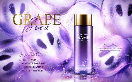 Grape seed skin care oil contained in a glass bottle; with purple fruit flesh, 3d illustration