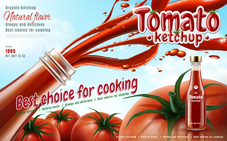 Tomato ketchup ad with ketchup shooting from glass bottle, sky background 3d illustration