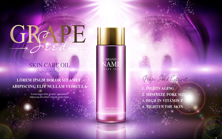 Grape seed skin care oil contained in a glass bottle; with symmetric fruit elements, 3d illustration