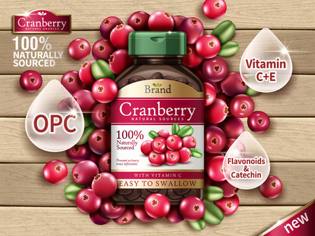 Cranberry dietary supplement contained in bottle, with cranberry elements, wooden background 3d illustration