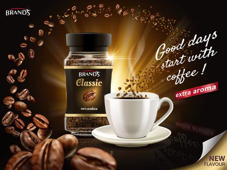무수한 커피 콩 요소, 3d 일러스트 레이션으로 둘러싸인 인스턴트 Arabica 커피 광고 스톡 콘텐츠 - 82758237