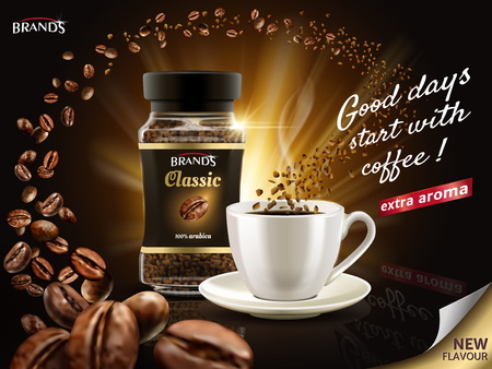 Instant Arabica coffee ad, surrounded by countless coffee bean elements, 3d illustration Çizim