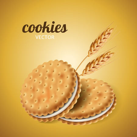 Sandwich cookies with wheat, isolated yellow background in 3d illustration