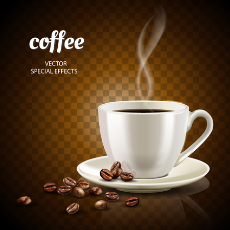 Coffee concept illustration with filled coffee cup and few coffee beans, 3d illustration