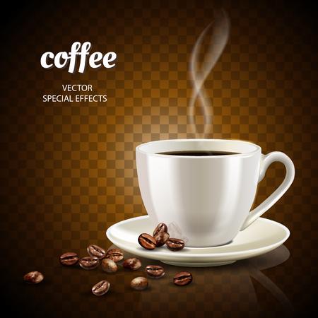 Káva koncepce ilustrace s naplněný šálek kávy a málo kávových zrn, 3d ilustrace