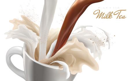 流の影響を誇張して、ミルクと紅茶を注ぐダウンし、こぼれた、3 d イラストレーション