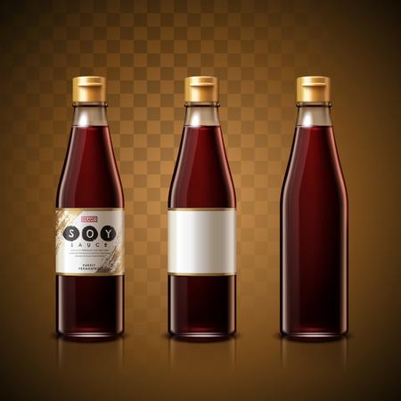 Soy sauce package design, transparent background, 3d illustration Illustration