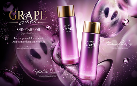 luster: Grape seed skin care oil contained in glass bottles; with dark flow effects, 3d illustration