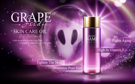Druivenpitolie voor huidverzorging in een glazen fles; met druiven en glinsterende paarse lichte elementen, 3d illustratie
