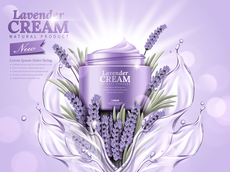 Lavender cream ads, natural skin care products with splashing liquid and lavender elements isolated on glittering bokeh background.