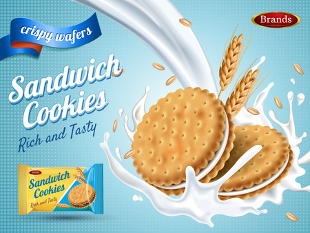 Milk flavor sandwich cookies, isolated light blue background, 3d illustration