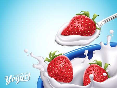 Strawberry flavor yogurt, light blue background, 3d illustration