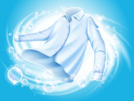 Biała koszula myte i odwirowane w wodzie, z elementami bańki mydlanej, na białym tle niebieskiego tła ilustracji 3d