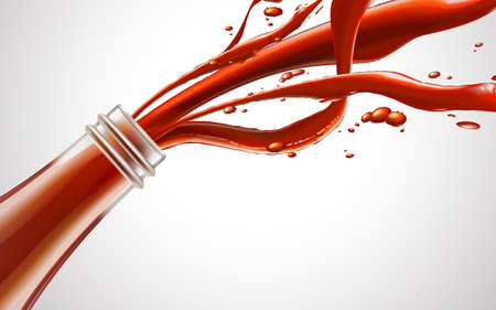 Red fluid from glass bottle, white background 3d illustration