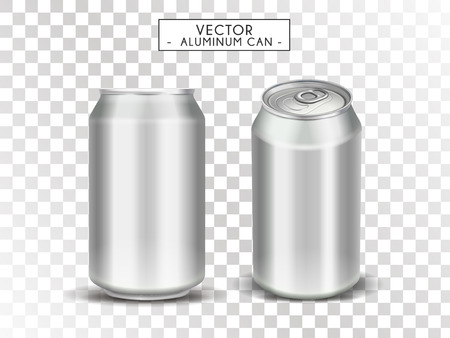 Blank metallic cans for design uses, isolated transparent background, 3d illustration