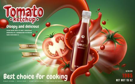 Tomate ketchup anuncio con efecto de flujo de salsa de tomate, fondo verde 3d ilustración
