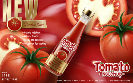 Tomato ketchup ad with tilt bottle and tomato elements, 3d illustration