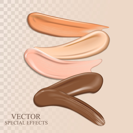 Colorful cosmetic smear elements for design uses, 3d illustration