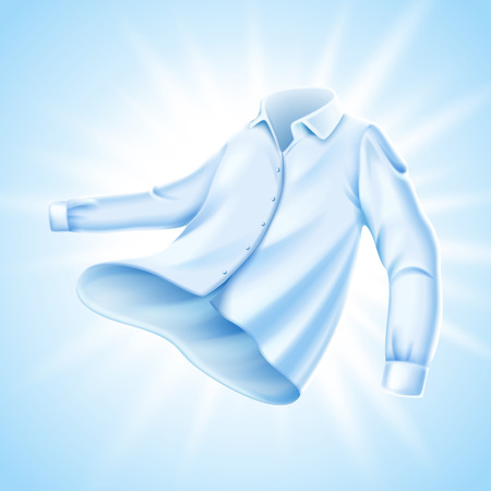 Soft comfortable shirt with light shining on it, isolated light blue background 3d illustration