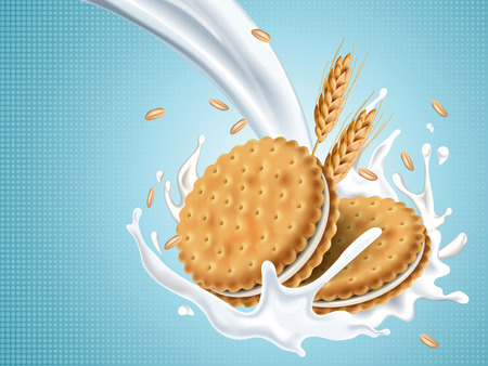 Sandwich cookies with pouring white fluid, isolated light blue background, 3d illustration
