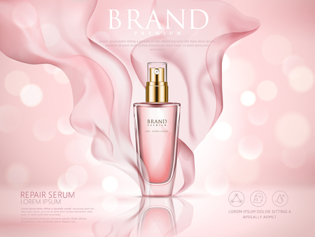 Repair serum ad, pink bokeh background with soft pink chiffon, 3d illustration Ilustração