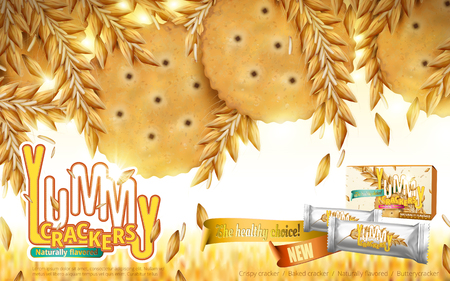 Yummy Crackers ad, close up look at naturally flavored crackers and wheats, bokeh wheat background with product package design in 3d illustration 向量圖像
