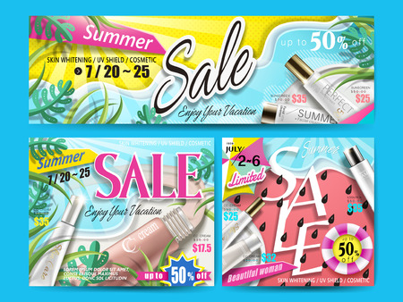 bright banner designs with cosmetic products and summer sale info, for website ad use 3d illustration