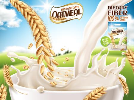 instant havermout advertentie, met melk en haver close-up, open veld achtergrond, 3d illustratie