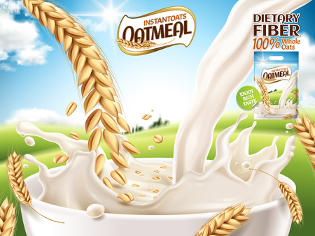instant oatmeal ad, with milk and oat close up, open field background, 3d illustration Stok Fotoğraf - 82760786