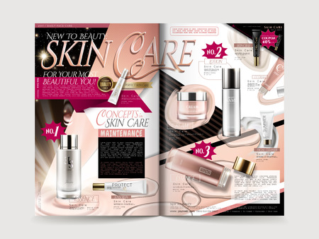 fashionable cosmetic brochure design with product collections, for promotion uses, 3d illustration