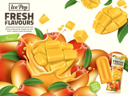 De verse pop-advertenties van het mangoijs, met gesneden mangoelementen en pakketontwerp op de rechterkant in 3d illustratie voor de zomer