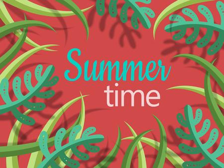夏の時間緑漫画様式の植物とシャドウ、背景が赤のテキストをレタリング