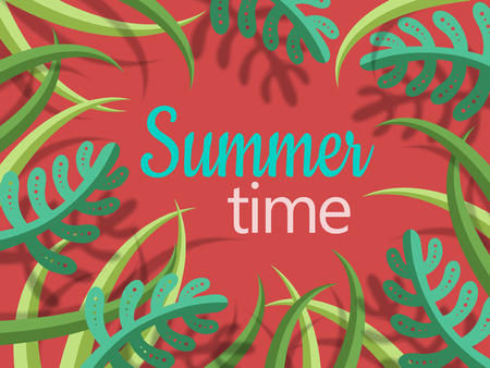 summer time lettering text with green cartoon style plants and shadow, red background