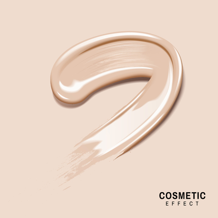 smeared: smeared cream colored foundation for effect use, isolated cream color background Illustration