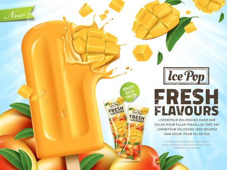 Fresh mango ice pop ads, sliced mango hit in popsicle isolated on sunshine background in 3d illustration, summer style
