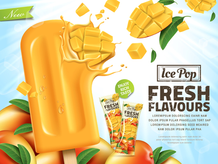 Fresh mango ice pop ads, sliced mango hit in popsicle isolated on sunshine background in 3d illustration, summer style
