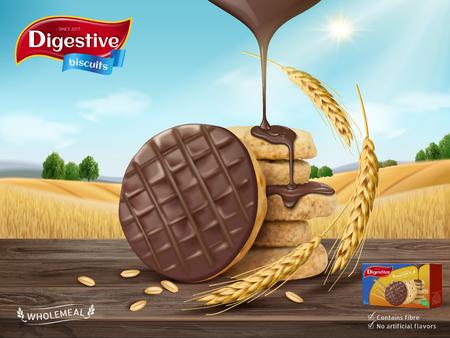 Adverterende de koekjesadvertentie van de chocolade, chocoladesaus druipend van hemel en koekjes die op houten lijst, de achtergrond van het tarwegebied in 3d illustratie wordt geïsoleerd