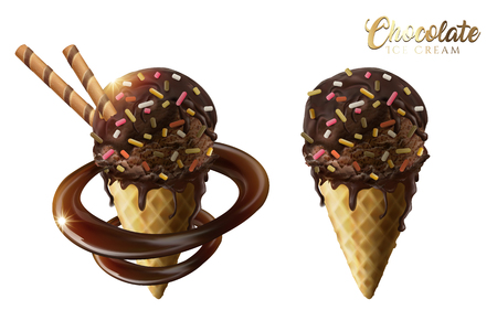 cornet: Chocolate ice cream cones set with rainbow jimmies and wafer stick isolated on white background in 3d illustration