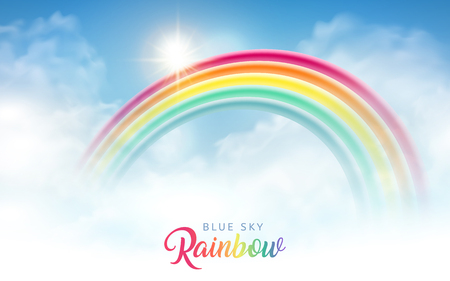Bright blue sky with beautiful rainbow, backdrop design Illustration