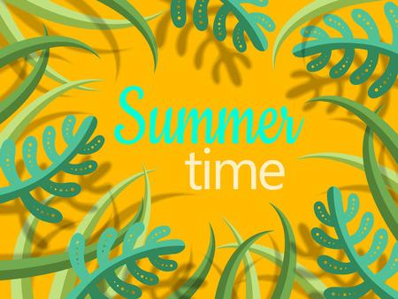 夏の時間緑漫画様式の植物とシャドウ、黄色の背景色でテキストをレタリング  イラスト・ベクター素材