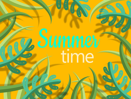 summer time lettering text with green cartoon style plants and shadow, yellow background