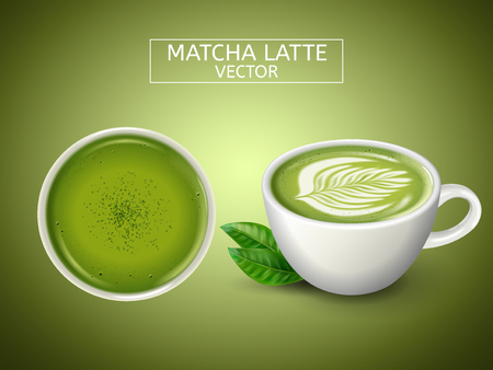 two cups, one top view, both filled with matcha latte drink, light green background 3d illustration