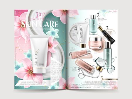 Kosmetisches Broschürendesign mit Produktsammlungen und eleganten Blumen, Illustration 3D.