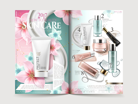 Cosmetic brochure design with product collections and elegant flowers, 3D illustration.