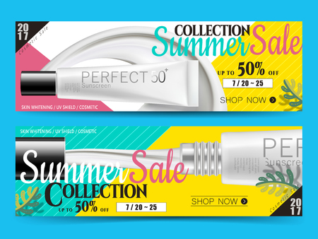 long banner designs with sunscreen tubes and discount info, for website ad use 3d illustration Illustration