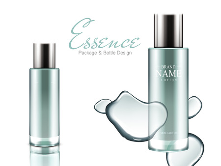 two azure glass bottles with shadow and water elements, for essence package design use, isolated white background 3d illustration